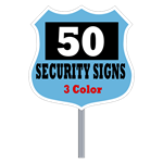 Security Yard Signs - Badge Shape 3 Color (Box of 50)