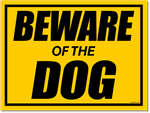 Beware of Dog Yard Signs - Black on Yellow Corrugated Plastic
