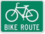 Bike Route Sign with Bicycle Symbol 24 x 18