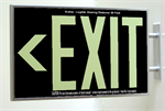 Photoluminescent Exit Sign 1 Sided Side Mount and Chevrons - Black