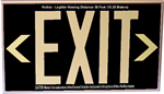 Photoluminescent Exit Sign with Wall Mount and Chevrons - Black