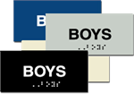 ADA Boys Braille Sign - 6'' x 3'' - Four Color Choices