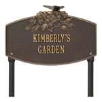 Butterfly Blossom Garden Personalized Lawn Plaque - Bronze / Gold