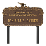 Butterfly Rose Garden Quote Personalized Lawn Plaque - Bronze / Gold