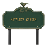 Chickadee Ivy Garden 1-Line Personalized Lawn Plaque - Green / Gold