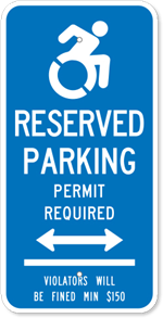 Connecticut Handicapped Parking Sign with Bi-Directional Arrow