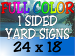 Corrugated Plastic - 24x18 Yard Sign - 1 Sided Full Color (10 Signs)