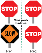 Crosswalk Stop/Slow Paddles with 6 Inch Handle