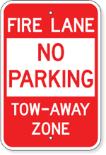 No Parking Fire Lane Tow-Away Zone Sign