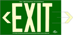 Photoluminescent Exit Sign - 50' Visibility - UL 924 - With Chevrons - Green