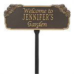 Garden Welcome Personalized Lawn Plaque - Bronze / Gold