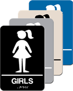 ADA Signage - Girls Restroom Braille Sign - 6'' x 9''