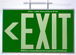 Photoluminescent Exit Sign 1 Sided Ceiling Mount and Chevrons - Green
