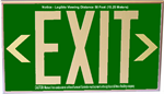 Photoluminescent Exit Sign with Wall Mount and Chevrons - Green