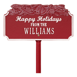 Happy Holidays with Bells Standard Lawn Plaque - Red / White