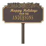 Happy Holidays with Candy Canes Standard Lawn Plaque - Bronze / Gold