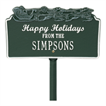 Happy Holidays with Sleigh Standard Lawn Plaque - Green / White