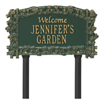 Ivy Trellis Garden Welcome Personalized Lawn Plaque - Green / Gold