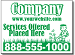 Lawn Care Yard Sign shown emerald green on white.
