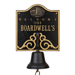 Lighthouse Bell Welcome Plaque - Black / Gold