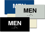 ADA Signage - Men Braille Sign - 6'' x 3''