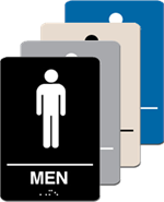 ADA Signage - Men Restroom Braille - 6'' x 9''
