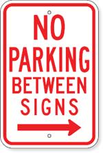 No Parking Between Signs with Right Arrow
