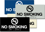 ADA Signage - Braille Sign - No Smoking with Symbol - 6'' x 3''