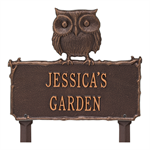 Owl Garden Personalized Lawn Plaque - Antique Copper
