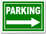 Parking With Arrow 24x18 Yard Sign - 1 Color