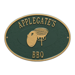 Personalized Charcoal Grill Plaque - Green / Gold
