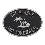 Personalized Island Time Palm Plaque - Black / Silver