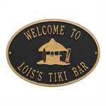 Personalized Tiki Hut Party Plaque - Black / Gold