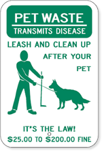 Pet Waste Transmits Disease Leash And Clean Up After Your Pet