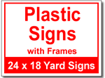 Plastic Signs with Frames - 50 Signs and Stakes 24x18