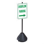 Overflow Parking Right Arrow Sign with Portable Pole