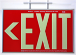 Photoluminescent Exit Sign 1 Sided Ceiling Mount and Chevrons - Red