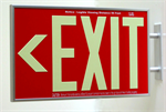 Photoluminescent Exit Sign 1 Sided Side Mount and Chevrons - Red