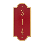 Richmond Vertical Wall Plaque - Petite - Red / Gold