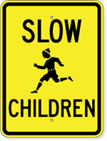 Slow Children Sign with Child Running Symbol