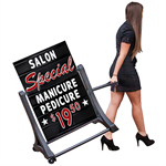 Rolling Black Swinger Deluxe Message Board Sign
