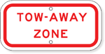 Tow-Away Zone Stop Sign Placard