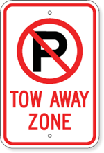 Tow Away Zone with No Parking Symbol