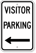 Visitor Parking with Left Arrow Sign