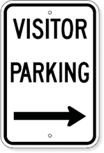 Visitor Parking with Right Arrow Sign