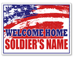 Welcome Home Sign with American Flag Full Color Sign