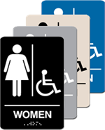 ADA Signage - Women with Accessible Braille - 6'' x 9''